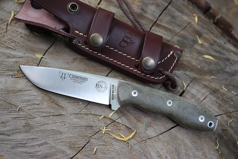 Cuchillo Supervivencia caza Cudeman BS9 Quercus 160-F micarta canvas verde, total 23,5 cm, deportivo, hoja 11 cm, herramienta camping para pesca, ...