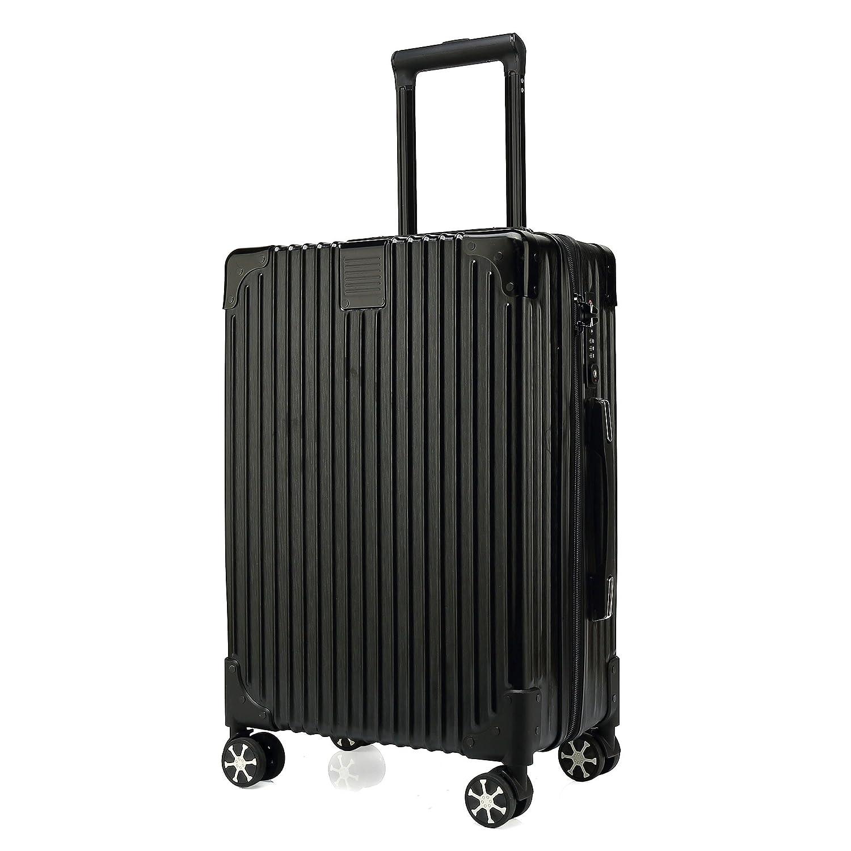 クロース(Kroeus) スーツケース ファスナータイプ 4輪ダブルキャスター 静音 大型 大容量 軽量 人気 ソフト キャリーケース 旅行 出張 TSAロック搭載 耐衝撃 ヘアライン仕上げ B0788DMXX8 L|ブラック ブラック L
