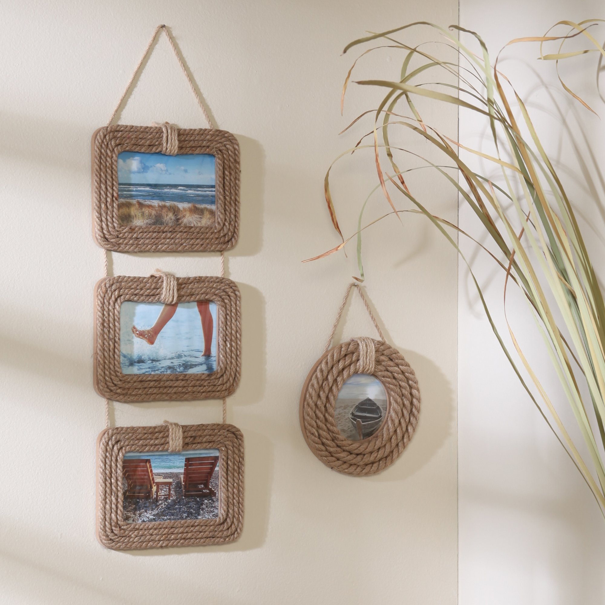 Hosley Jute Rope Three 4'' x 6'' Photo Frames - 20'' High. Ideal Gift for Wedding or Special Occasion and use for Party, Home/Office, Spa, Bathroom Setting. P2 by Hosley (Image #2)