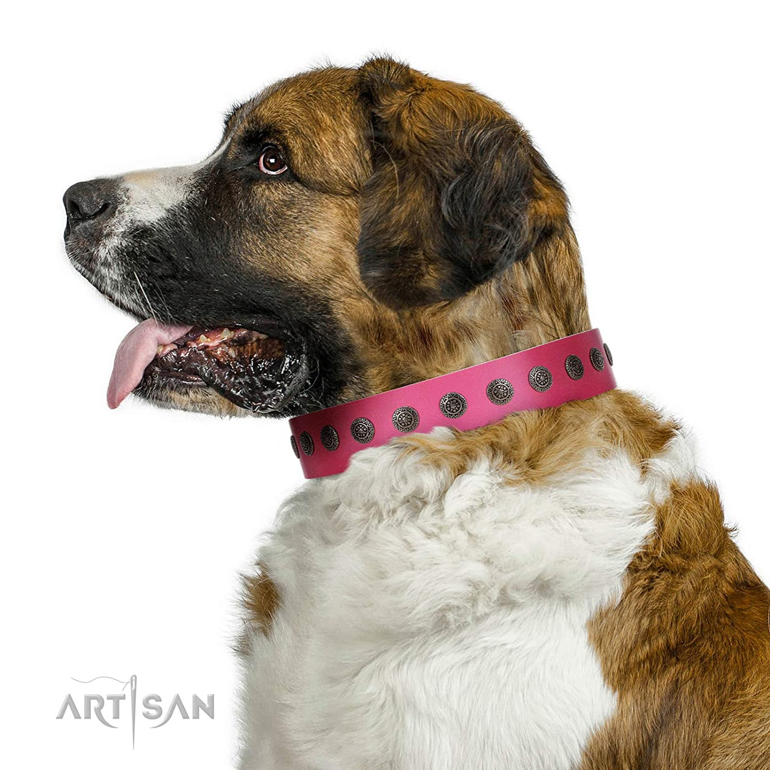 Fits for 17 inch (43cm) dog's neck size FDT Artisan 17 inch Pop Star Handcrafted Pink Leather Dog Collar with Round Plates 1 1 2 inch (40 cm) Wide Gift Box Included