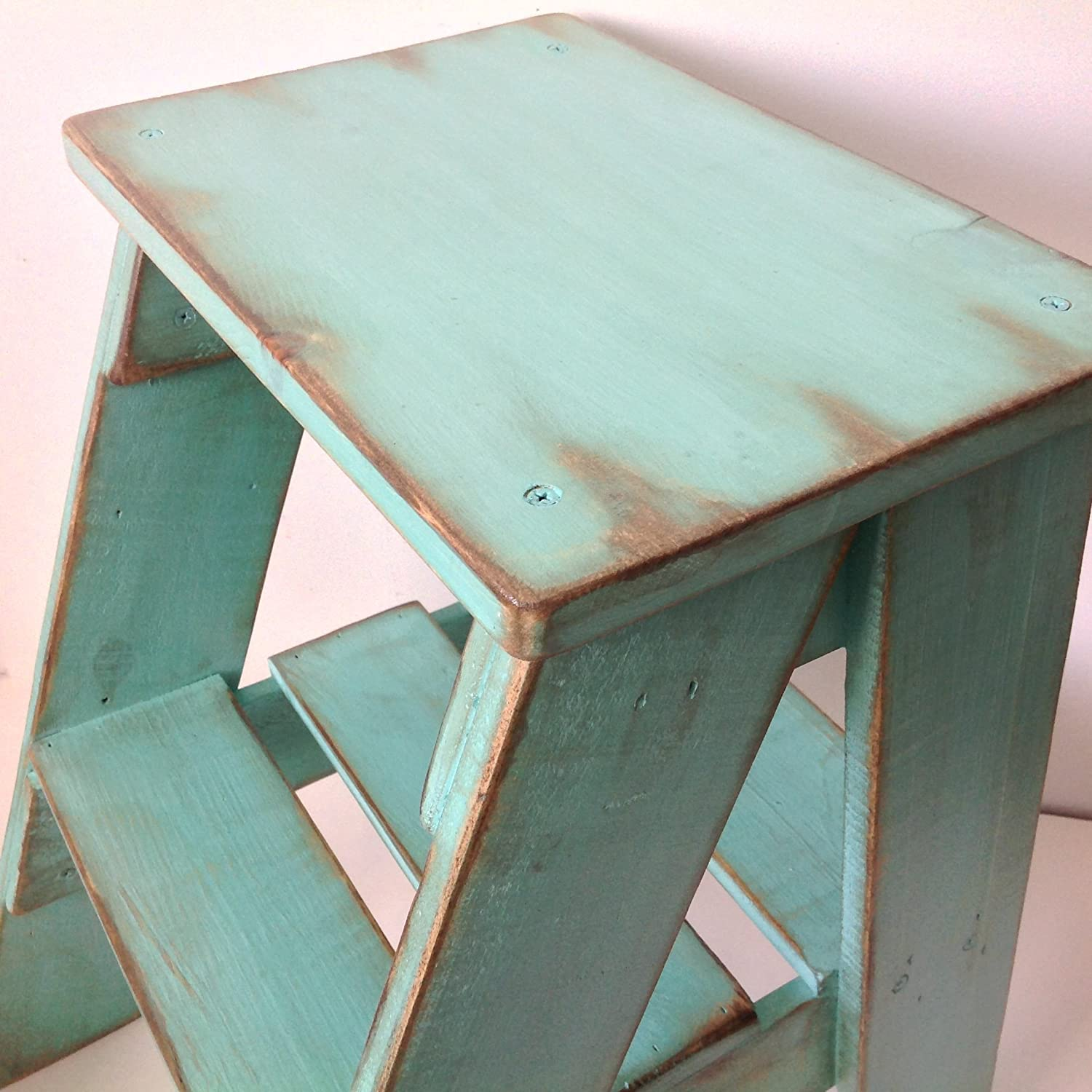 Amazon.com: Rustic Wood Step Stool Shabby Chic Furniture / Bedroom ...