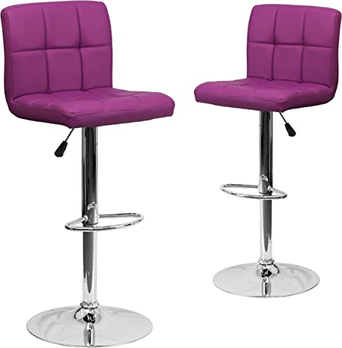 Flash Furniture 2 Pk. Contemporary Purple Quilted Vinyl Adjustable Height Barstool with Chrome Base