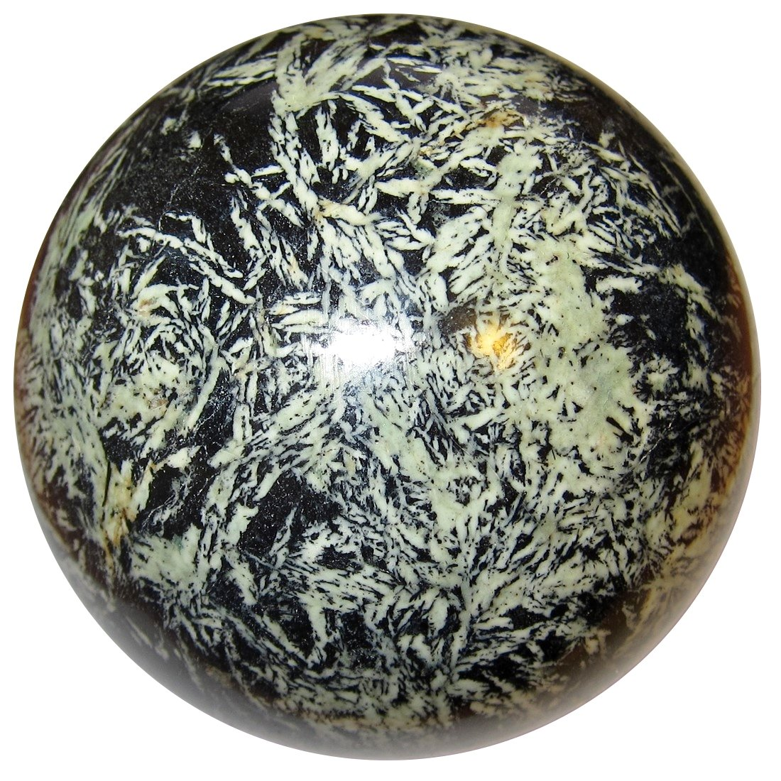 Satin Crystals Chrysanthemum Ball 3.5'' Collectible Rare Black White Chinese Writing Stone Tropical Jungle Sphere C01