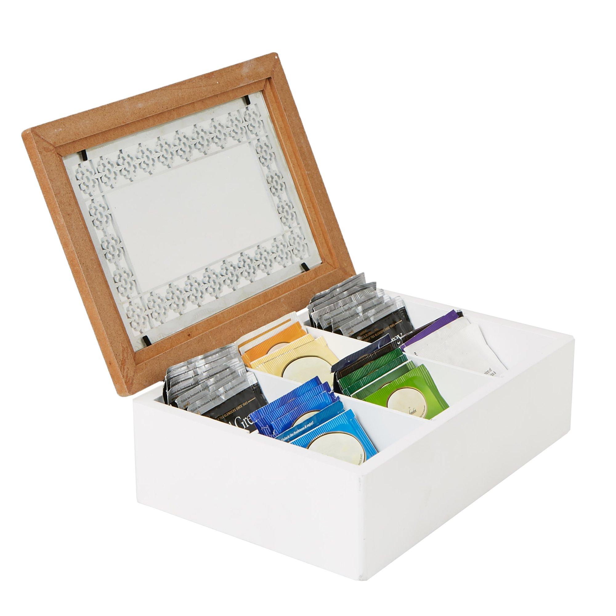 Mind Reader Tea Bag Storage Holder Box with Glass Window Wood Pattern, Brown