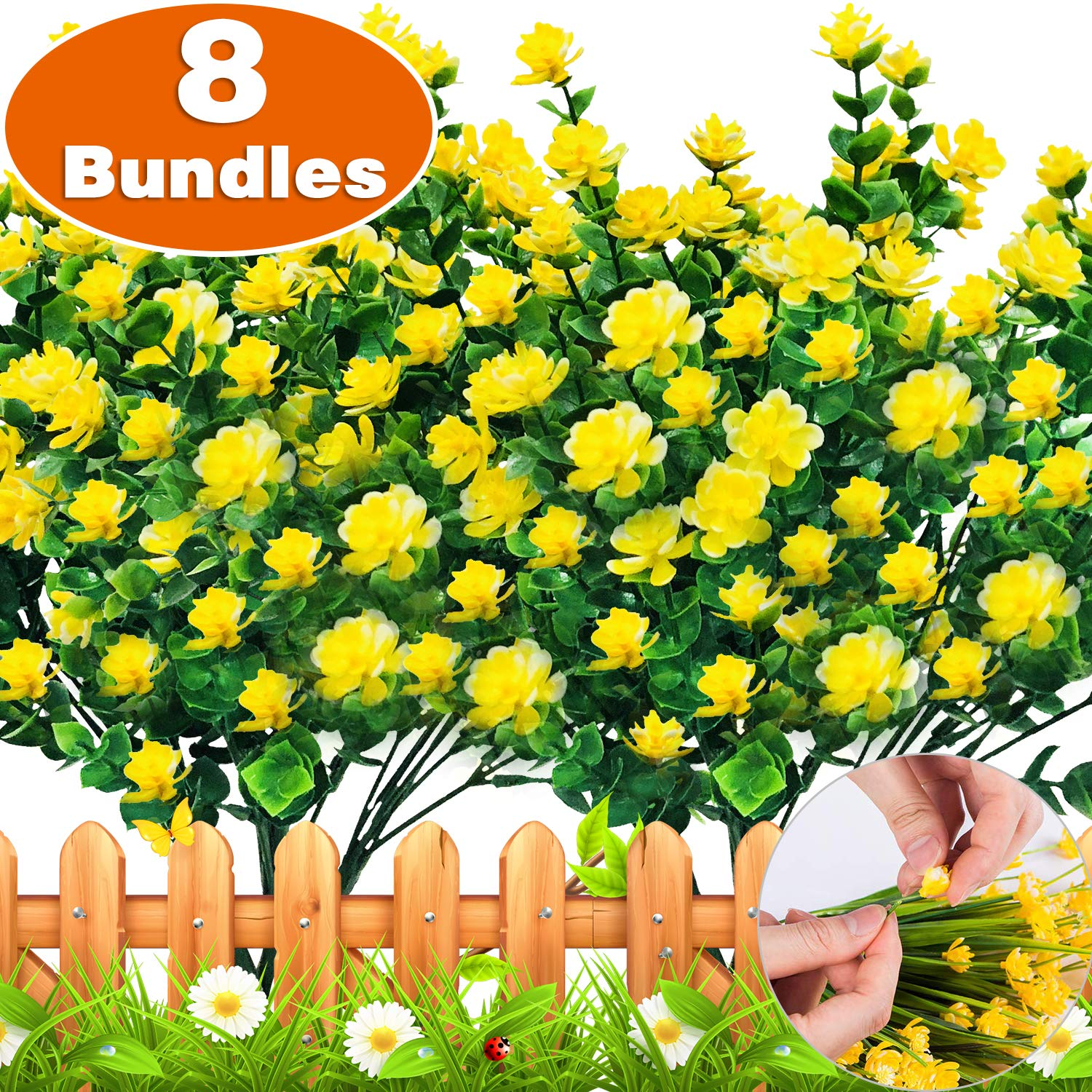 TURNMEON Artificial Flowers Fall Garland, 8 Bundles Faux Outdoor UV Resistant Daffodils Greenery Shrubs Plants Artificial Fake Flowers Indoor Outside Hanging Planter Home Garden Fall Decor by TURNMEON