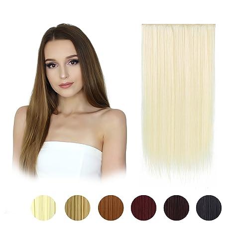 Extensiones FESHFEN de pelo sintético liso en una pieza de 61 cm de largo, 5