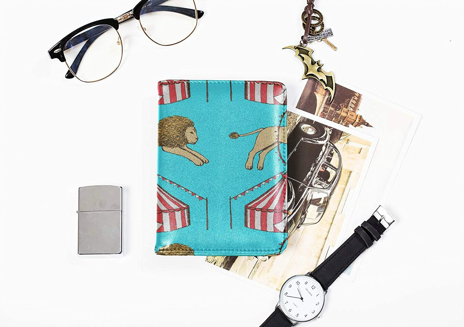 Mens Leather Passport Case Cute Cartoon Fun Childlike Hula Hoop Passport Case Waterproof Multi Purpose Print Small Passport Cover Travel Wallets For Unisex 5.51x4.37 Inch