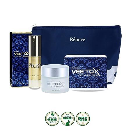 RENOVE VEE TOX Anti Aging Cream and wrinkle treatment – Bee Venom Cream with Manuka Honey 15 Mask – Bundle package VEE TOX Cream and VEE TOX Eye Cream
