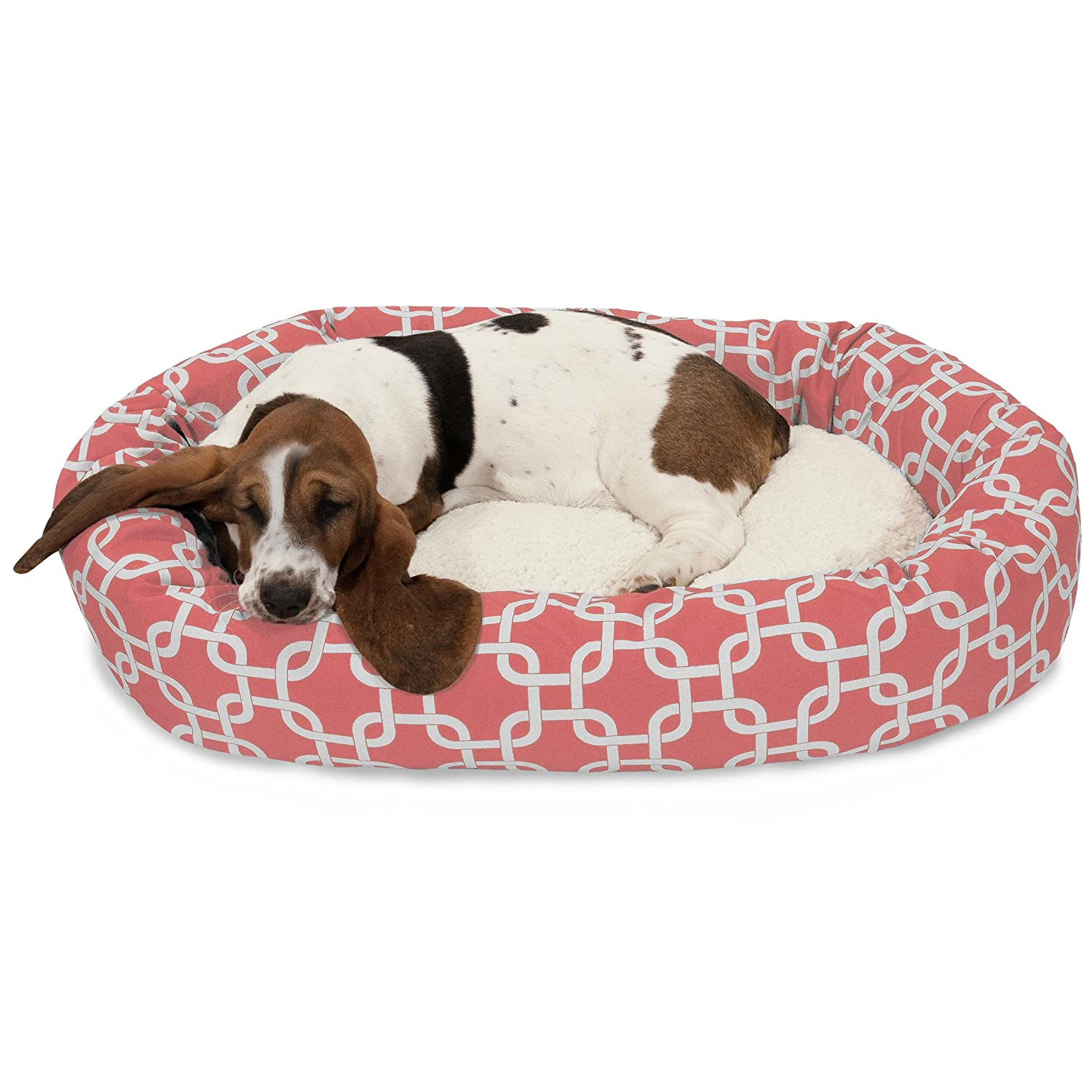 32 Inch Coral Links Sherpa Bagel Dog Bed