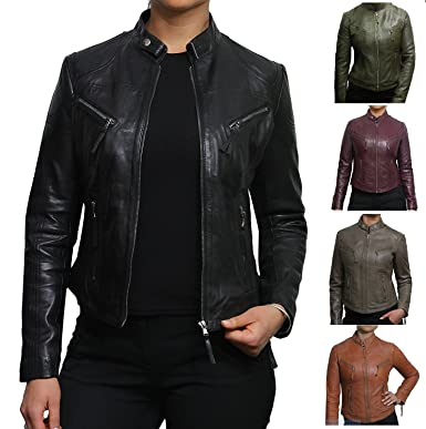Brandslock Womens Genuine Leather Biker Jacket Vintage at Amazon ... 143a11a31c