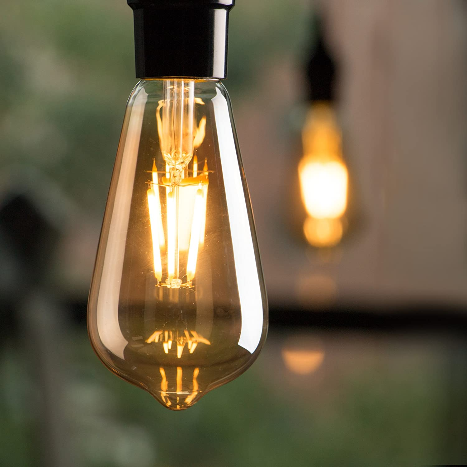 4 Pack Vintage LED Edison Light Bulbs, Dimmable 6-Watt ST64 A19 LED Replacement Bulbs 60 Watt Equivalent, Antique Filament Bulbs for Cage Pendant Lights Wall Sconces Ceiling and Chandelier, Amber Warm