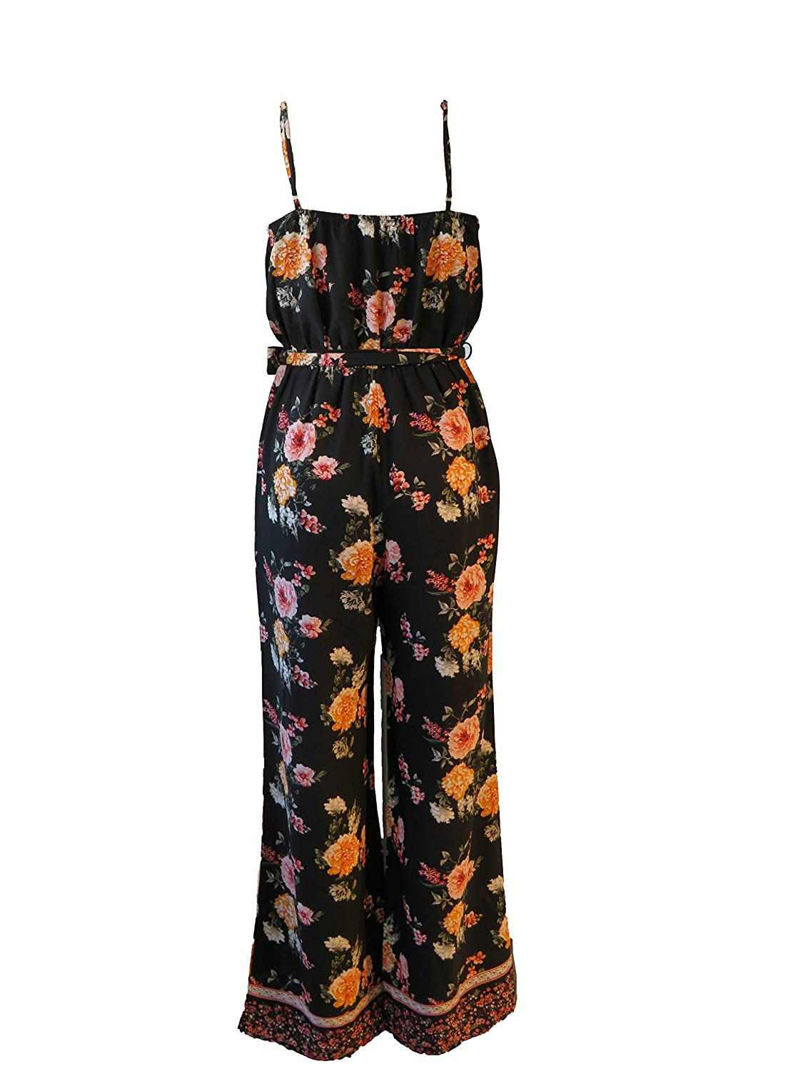 effff1d0168 Womens Wide Leg Black Floral Jumpsuit with Thin Straps and Belted at Waist   Amazon.ca  Clothing   Accessories