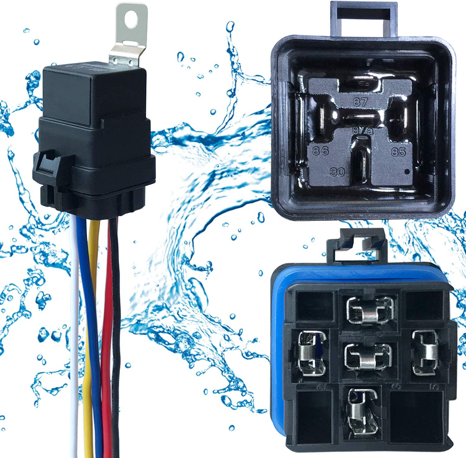 1 PACK 40/30 AMP 12 V DC Waterproof Relay and Harness - Heavy Duty 12 AWG Tinned Copper Wires, 5-PIN SPDT Bosch Style Automotive Relay: Automotive