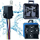 1 PACK 40/30 AMP 12 V DC Waterproof Relay and Harness - Heavy Duty 12 AWG Tinned Copper Wires, 5-PIN SPDT Bosch Style…