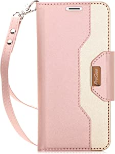 ProCase Galaxy S9 Wallet Case, Flip Kickstand Case with Card Holders Mirror Wristlet, Folding Stand Protective Book Case Cover for 5.8 Inch Galaxy S9 (2018 Release) -Pink