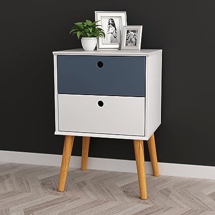 Amazon Com White Grey Finish Modern Mid Century Style Nightstand