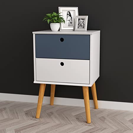 White Grey Finish Modern Mid-Century Style Nightstand Side Table with Two Drawer