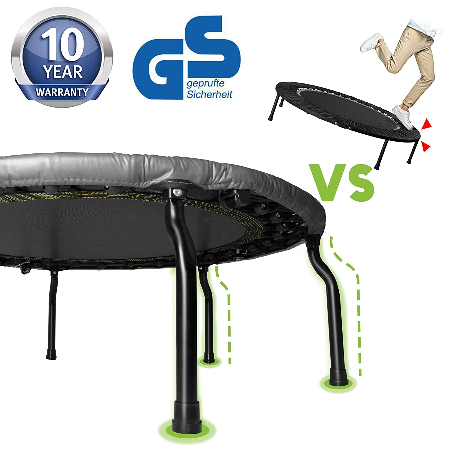 HAPPY JUMP Spring-Free Bungee Trampoline with Adjustable Handrail Bar Fitness Rebounder