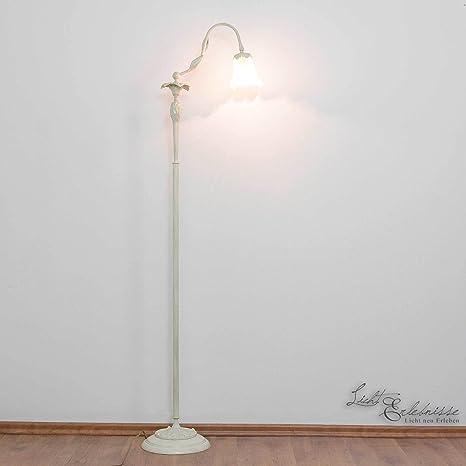 Premium lámpara de pie en Shabby Chic/Marfil floraler estilo ...