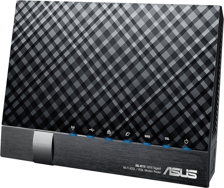 ASUS DSL-N17U - Router inalámbrico N300 Gigabit (VDSL/ADSL 2+, 2 x USB 2.0, Soporte 3G/4G), Negro