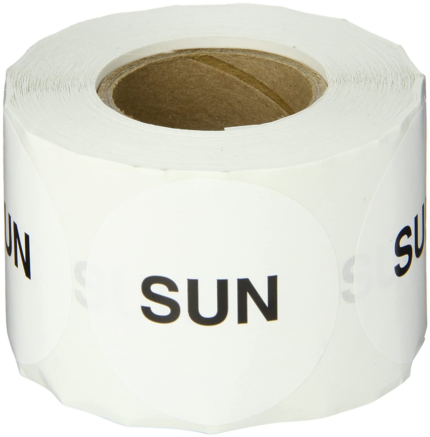 2 Diameter Roll of 500 LegendSun White Tape Logic DL6562 Pre-Printed Inventory Days of The Week Circle Label