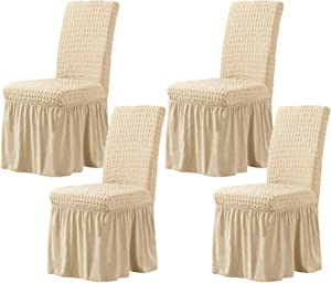 CHUN YI Stretchy Universal Easy Fitted Dining Chair Cover Slipcovers with Skirt, Removable Washable Anti-Dirty Furniture Protector for Kids Pets Home Ceremony Banquet Wedding Party(4,Light Khaki)