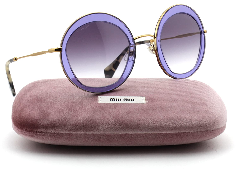 1698a852aa41 Miu Miu MU 50QS Pentogonal-Shaped Metal Women Sunglasses (Transparent Lilac  Frame