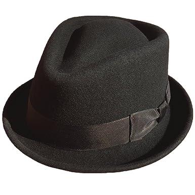 54a9067c Black Wool Felt Men Trilby Fedora Hat Stingy Brim Diamond Crown at ...