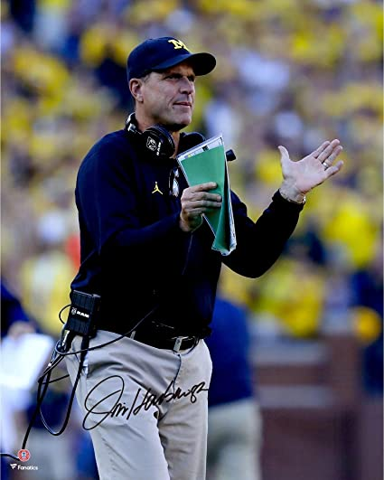 ba2fedfdb07 Jim Harbaugh Michigan Wolverines Autographed 16 quot  x 20 quot  Clapping  Photograph - Fanatics Authentic Certified