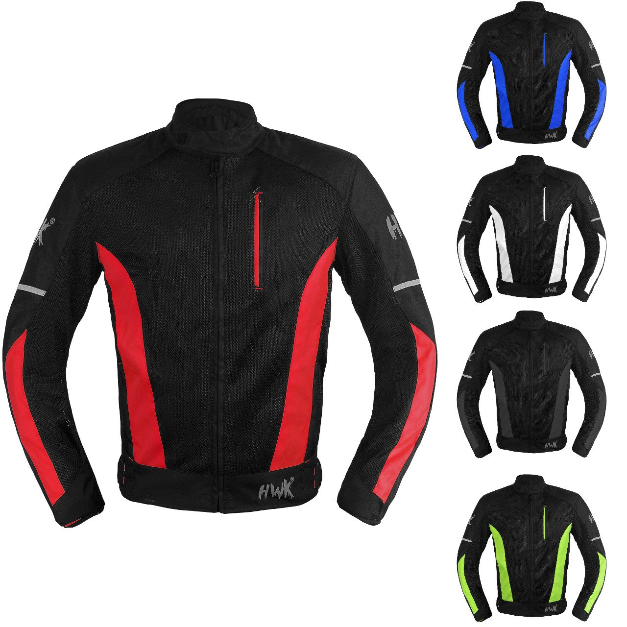 Mesh Motorcycle Jacket Textile Motorbike Summer Biker Air Jacket CE ARMOURED BREATHABLE Medium, Red