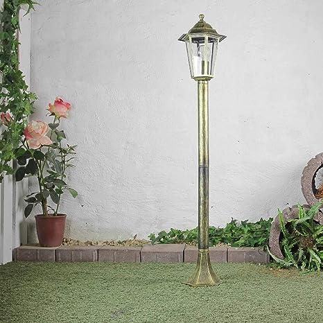Lámpara de jardín rústica lámpara de camino oro antiguo E27 ...