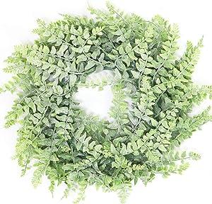 "Beebel Artificial Wreath Ferns Leaves Garland 12"" Boston Fern Wreath Plant in Dusty Green for Front Door Wall Hanging Window Wedding Party Decoration (Dusty Green)"