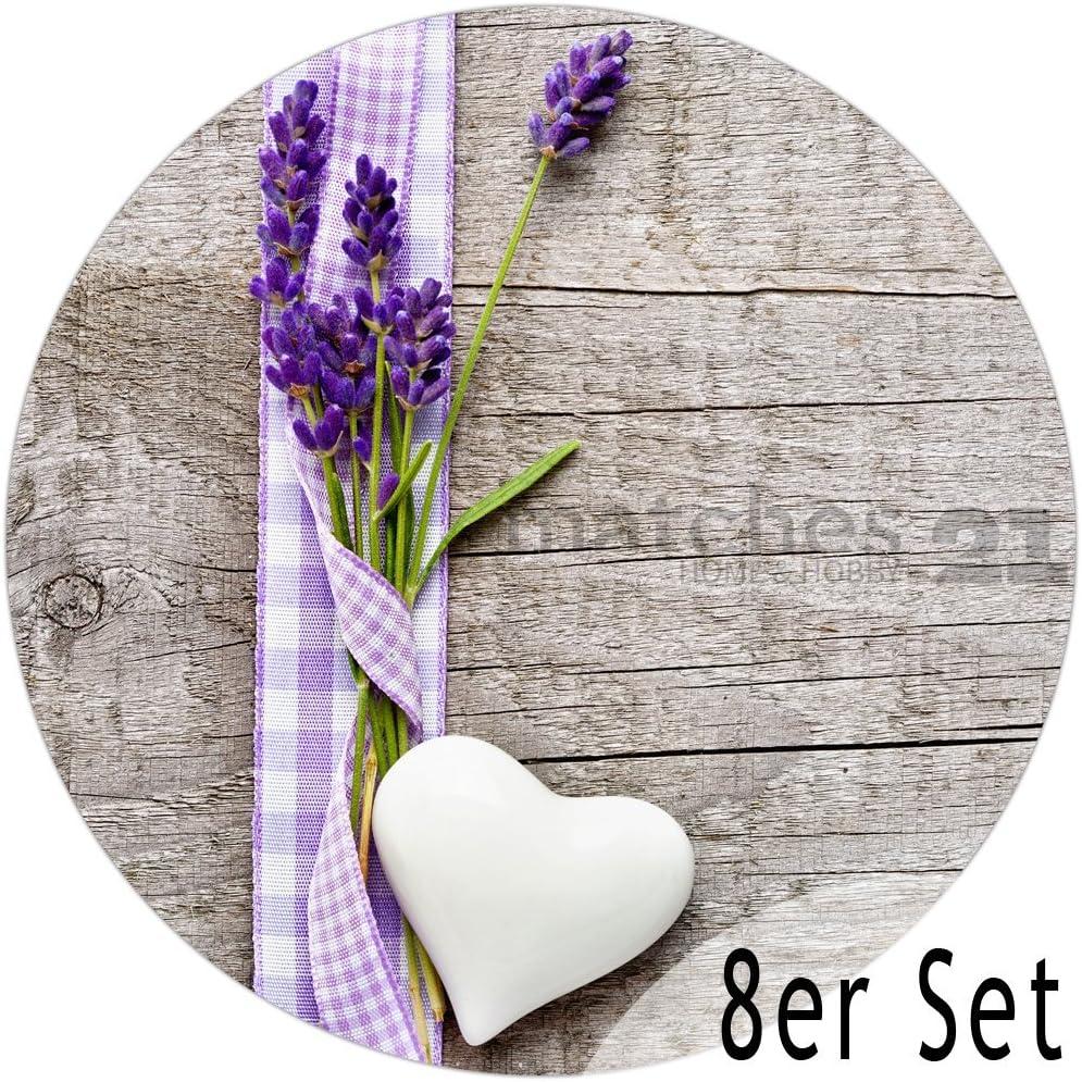 Tischsets Platzsets MOTIV Lavendel auf Holz braun Vintage 8 Stk Abwaschbar