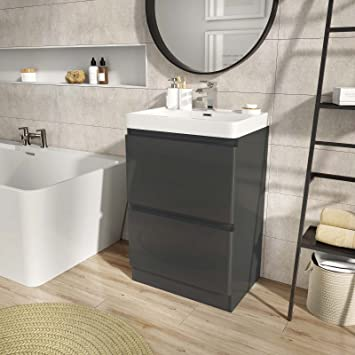 The Bath People Newbold Anthracite Grey Bathroom Standing Vanity