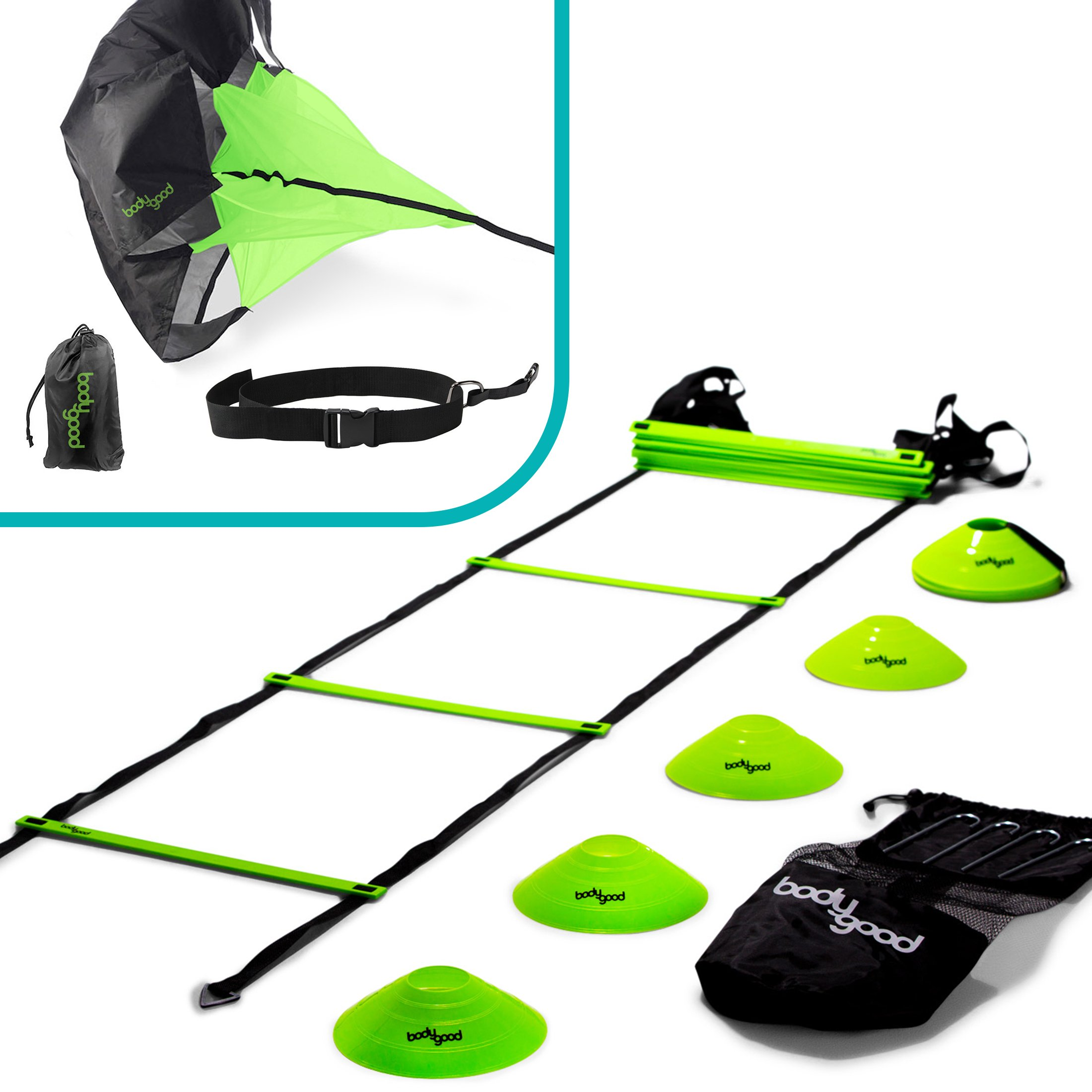 BodyGood Speed & Agility Training Set. Includes Agility Ladder, Resistance Running Parachute, 15 Sports Cones & Bag. Use Equipment to Improve Footwork for Any Sport. Comes with Instructional PDF