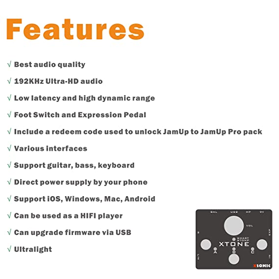 XTONE 192K Mobile Guitar Interface With MIDI Controller & Ultra Low Latency  & BIAS & JamUp
