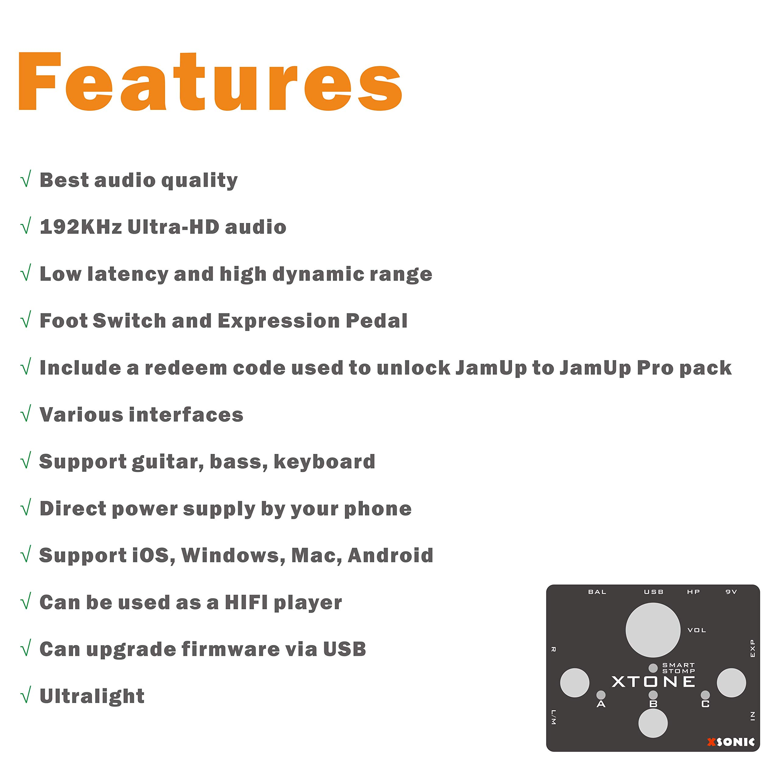 XTONE 192K Mobile Guitar Interface With MIDI Controller & Ultra Low Latency & BIAS & JamUp by XSONIC (Image #5)