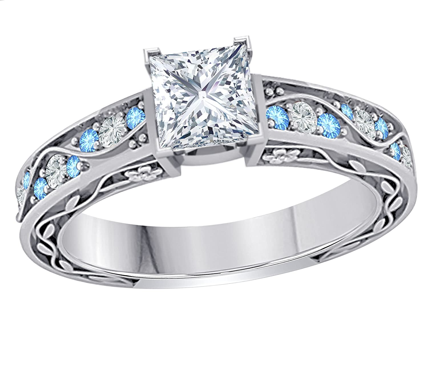 DreamJewels Stunning 1.00 CT Princess Cut Simulated CZ Diamond /& CZ Blue Topaz .925 Sterling Silver Plated Flower Look Cute Engagement /& Wedding Ring for Womens