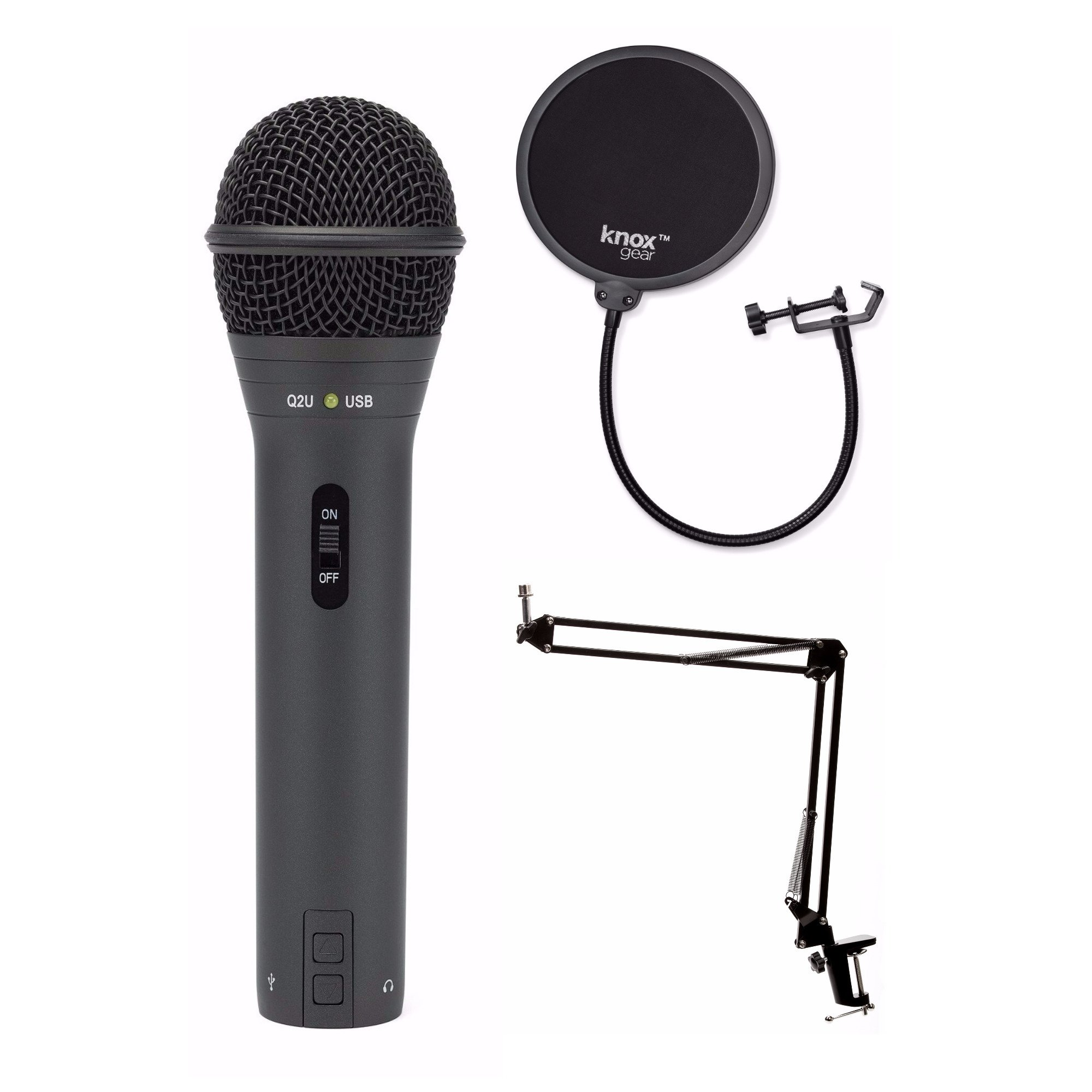 samson q2u black handheld dynamic usb microphone with knox boom arm and pop filter techadict. Black Bedroom Furniture Sets. Home Design Ideas
