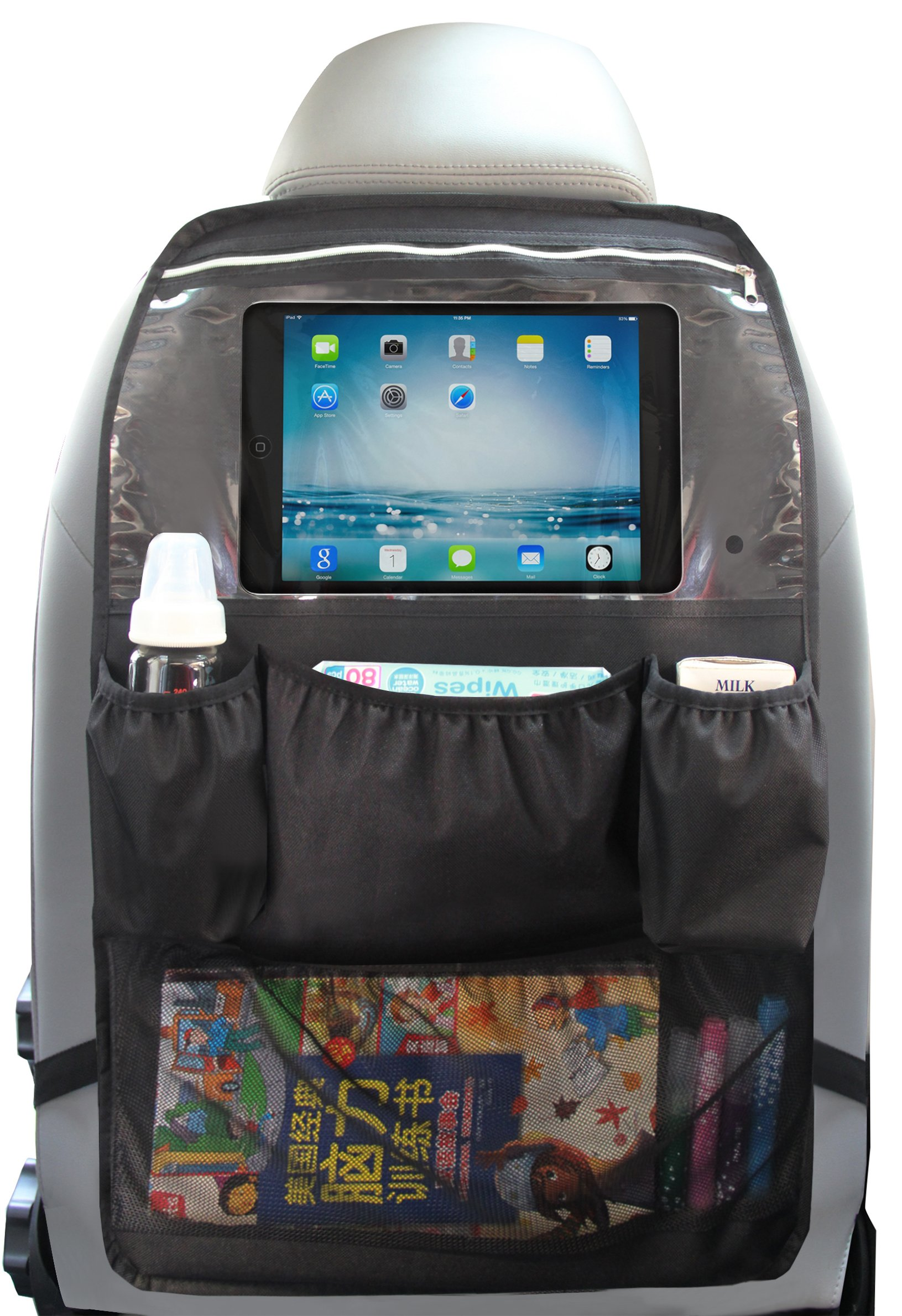 Car Back Seat Organizer with Touch Screen Tablet Holder Pocket up to 10.5'' for Kids (Black)
