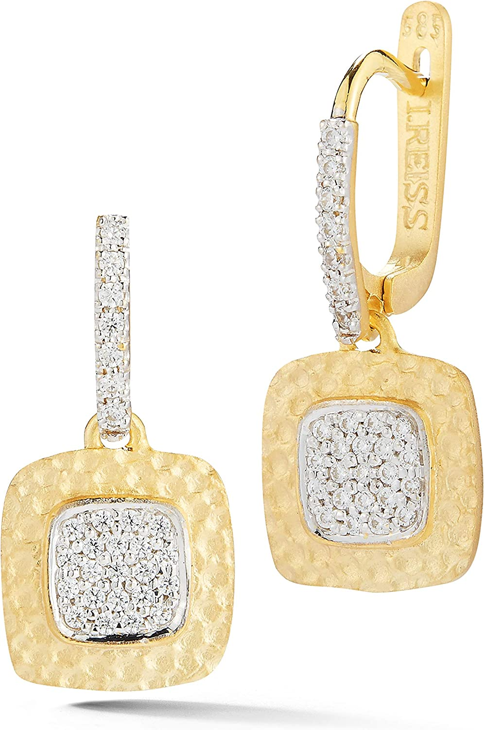 14K Yellow Hammered Square Earrings