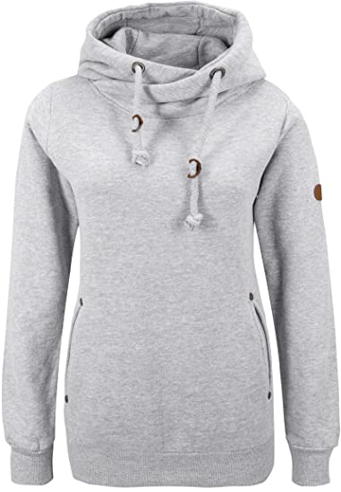 4c918678d1d3f0 Sublevel Sweatshirt with Hood for Women, Size:S, Color:Light Grey