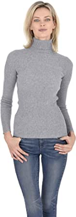 Cashmeren Turtleneck Sweater 100% Cashmere Ribbed Long Sleeve Pullover for Women