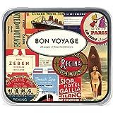 Cavallini Co. Bon Voyage &d'autocollants décoratifs livrés en boîte métallique Assortiment de 24 feuilles 24 feuilles