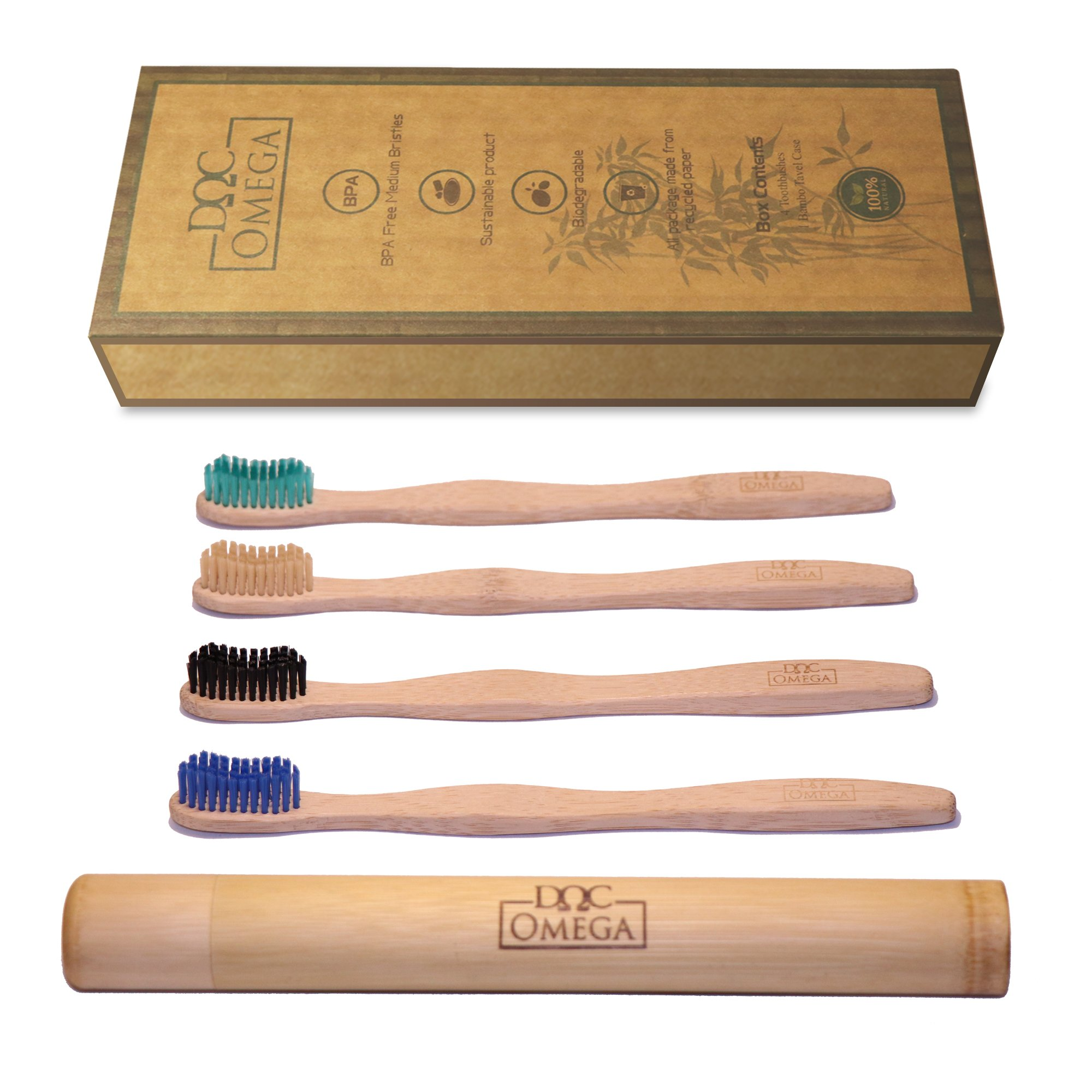 Doc Omega 4 Biodegradable Medium Bamboo Toothbrushes and 1 Bamboo Travel Case