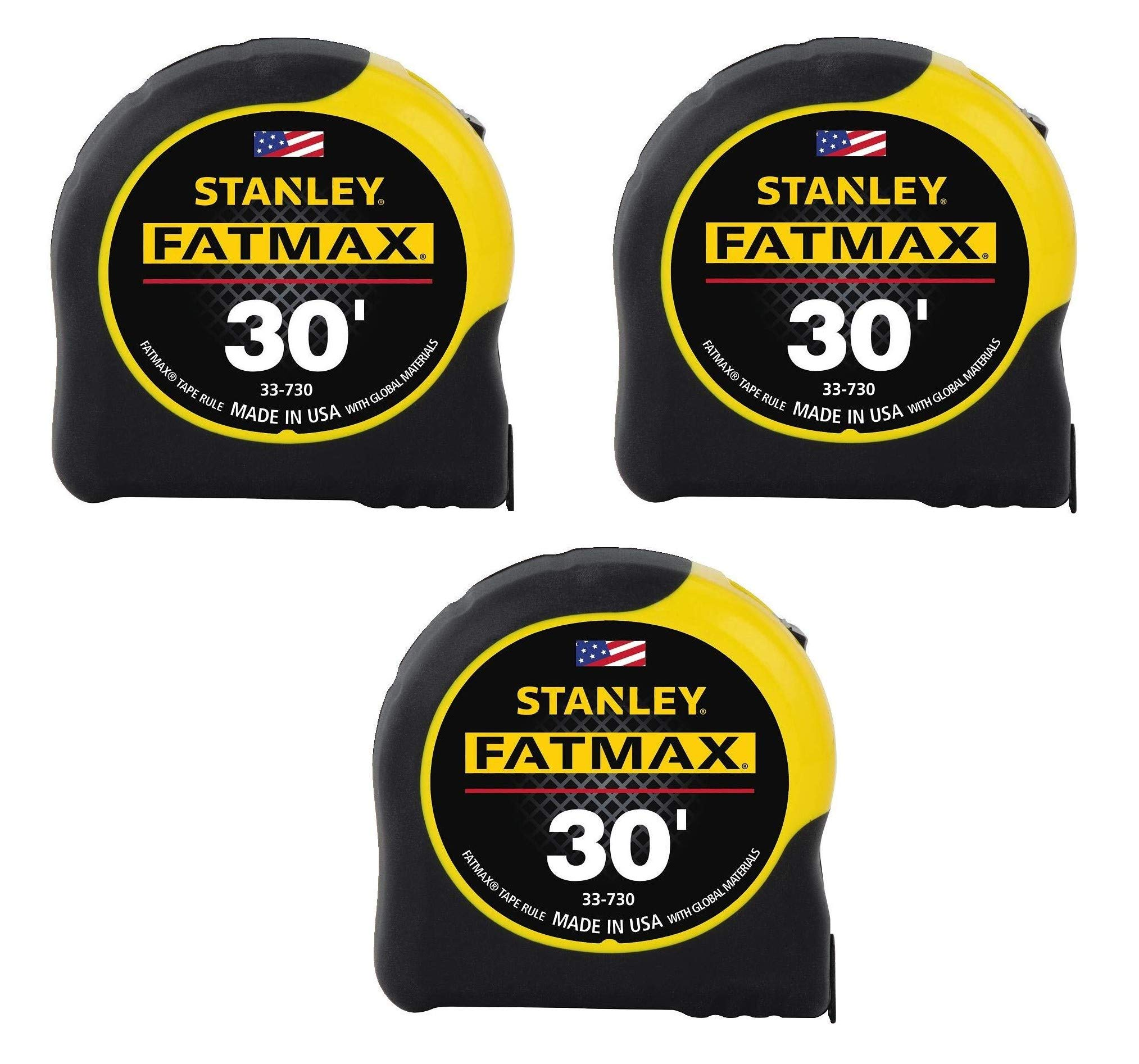 Stanley Tools 33-730 30-Foot-by-1-1/4-Inch FatMax Measuring Tape (3, 30-Feet)