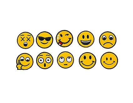 Emoji Embroidery Applique Decoration DIY Patch Set Of 10 Funny Custom Design Emojies Face Kit Iron