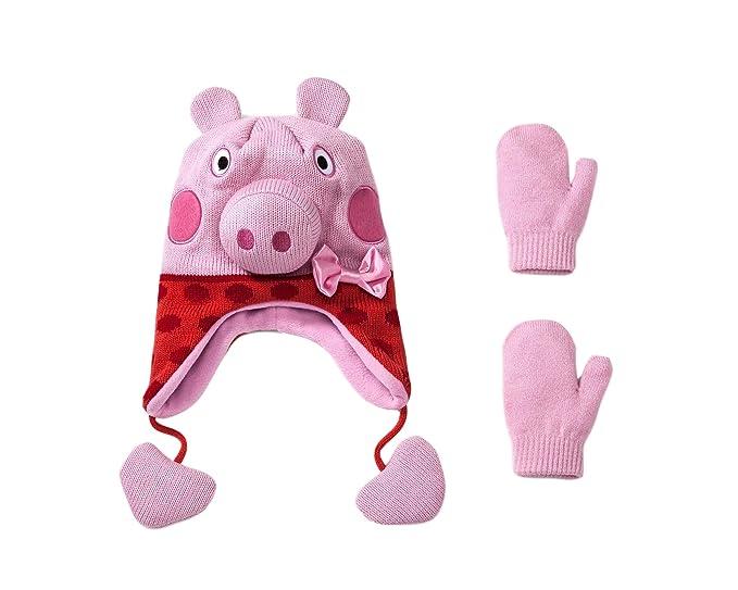 d10198645a5de Girls Kids Peppa Pig 2pc Winter Fleece Hat and Mittens Set Christmas ...