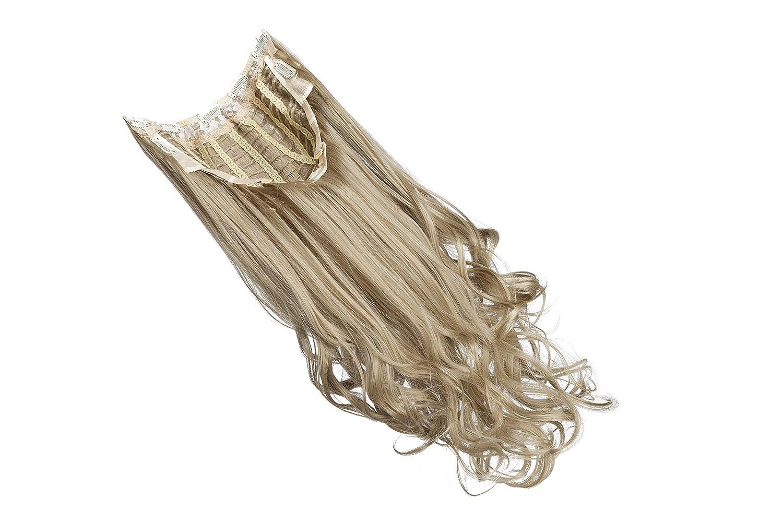 Extensiones de Cabello Natural Clip Peluca Ajustable Diseño de la Parte U Pelo Sintético Una Pieza 7 Clips 3/4 Cabeza Completa Wigs Postizos (60cm,Rubio ...