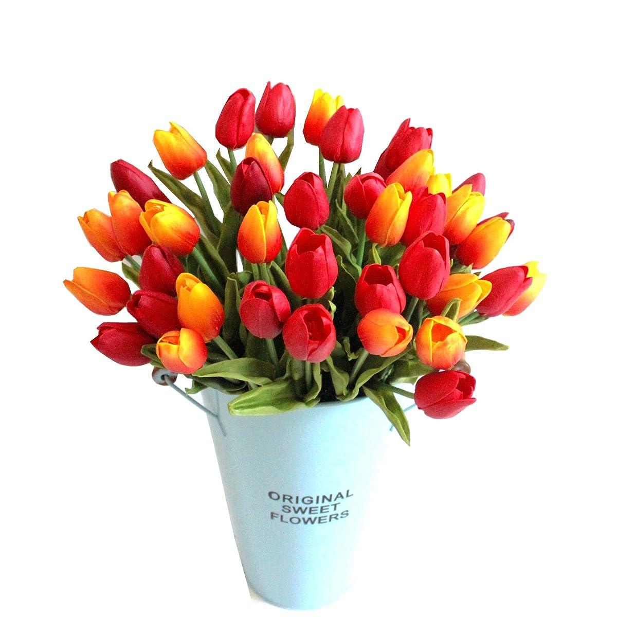 "Mandys 20pcs Orange Artificial Tulip Flowers 14"" for Party Home Wedding Decoration"